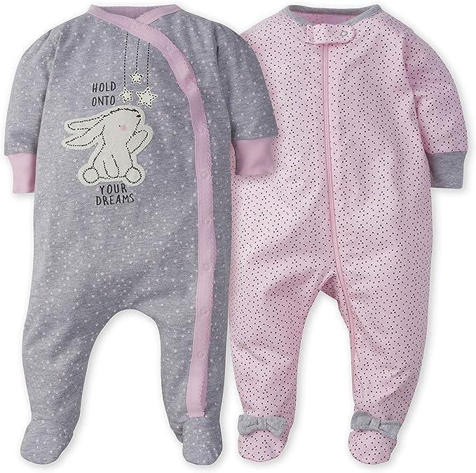 GERBER Baby Girls 2-Pack Thermal Sleep N Play