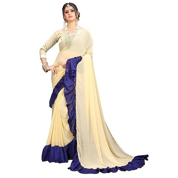 532c7639e540ac Being Banarasi Women s Beige Ruffle Saree with Blouse Piece  Amazon ...