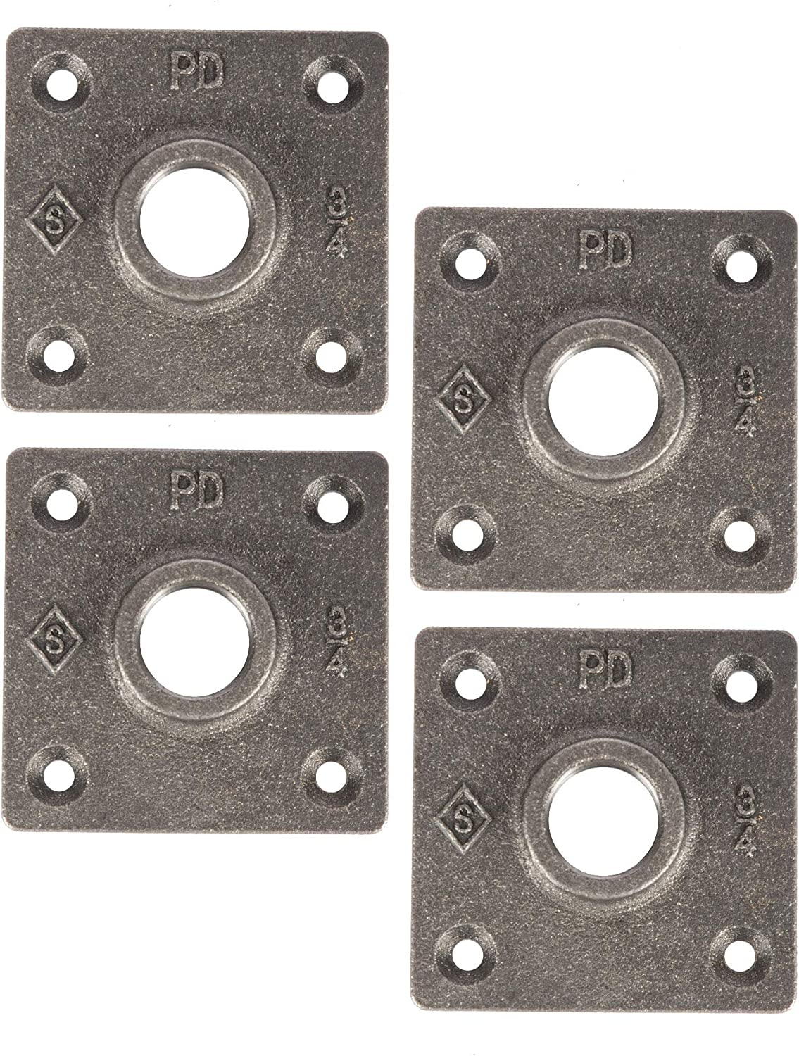 """PIPE DÉCOR 3/4"""" Industrial Flange New Square Design Half Inch Threaded Dark Grey Black Floor Flanges Malleable Cast Iron Pipes Fittings Build Vintage DIY Furniture & Shelving Heavy Duty (4) Four Pack"""