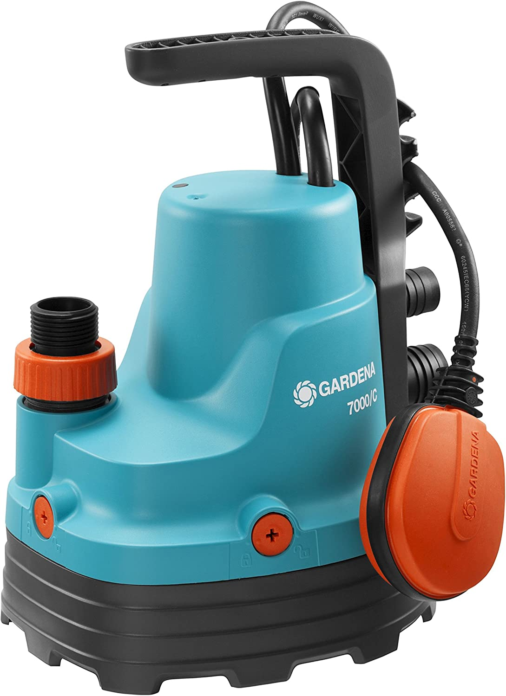 Gardena Bomba sumergible de aguas limpias Classic 7000/C, caudal 7000 l/h, silenciosa y sin mantenimiento, interruptor de flotador, cierre rápido para limpieza fácil (1661-20)