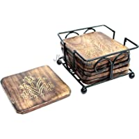 Jk Handicrafts Coaster Set of 6 / Wooden Coaster with Wrought Iron Holder for Coffee Table/Kitchen/Dining Table/Beer Glass
