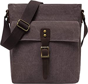 Small Messenger Bag Unisex, Kasqo Vintage Canvas Leather Lightweight Shoulder Crossbody Bag for Men and Women Coffee