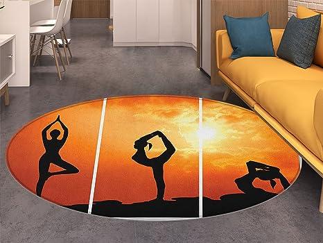 Amazon.com: Alfombra redonda para yoga, diseño de oso de ...