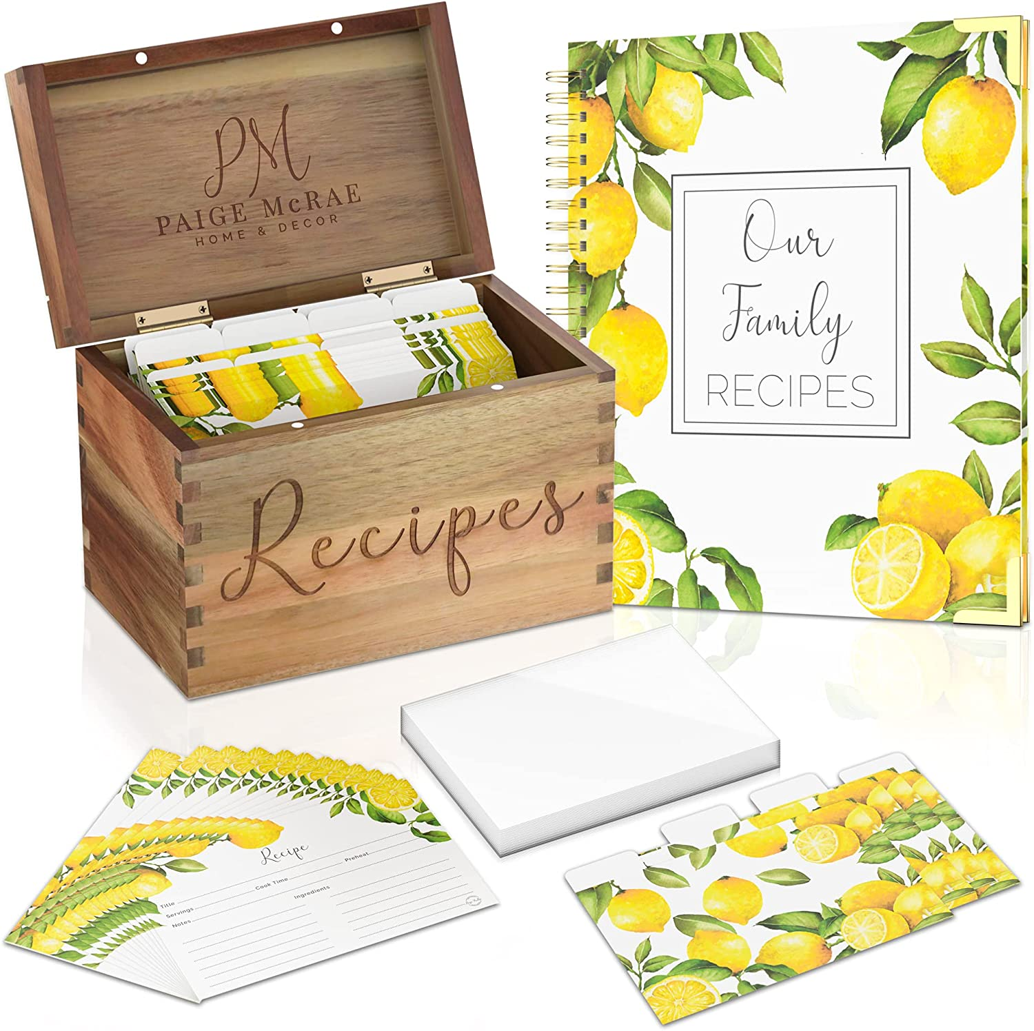 Wooden Recipe Box With Cards And Dividers, Protectors & 100 Page Blank Recipe Book To Write In-Recipe Card Box Organizer, Recipe Card Holder, 4x6 Recipe Cards And Box Set For Woman,Bridal Shower & Mom
