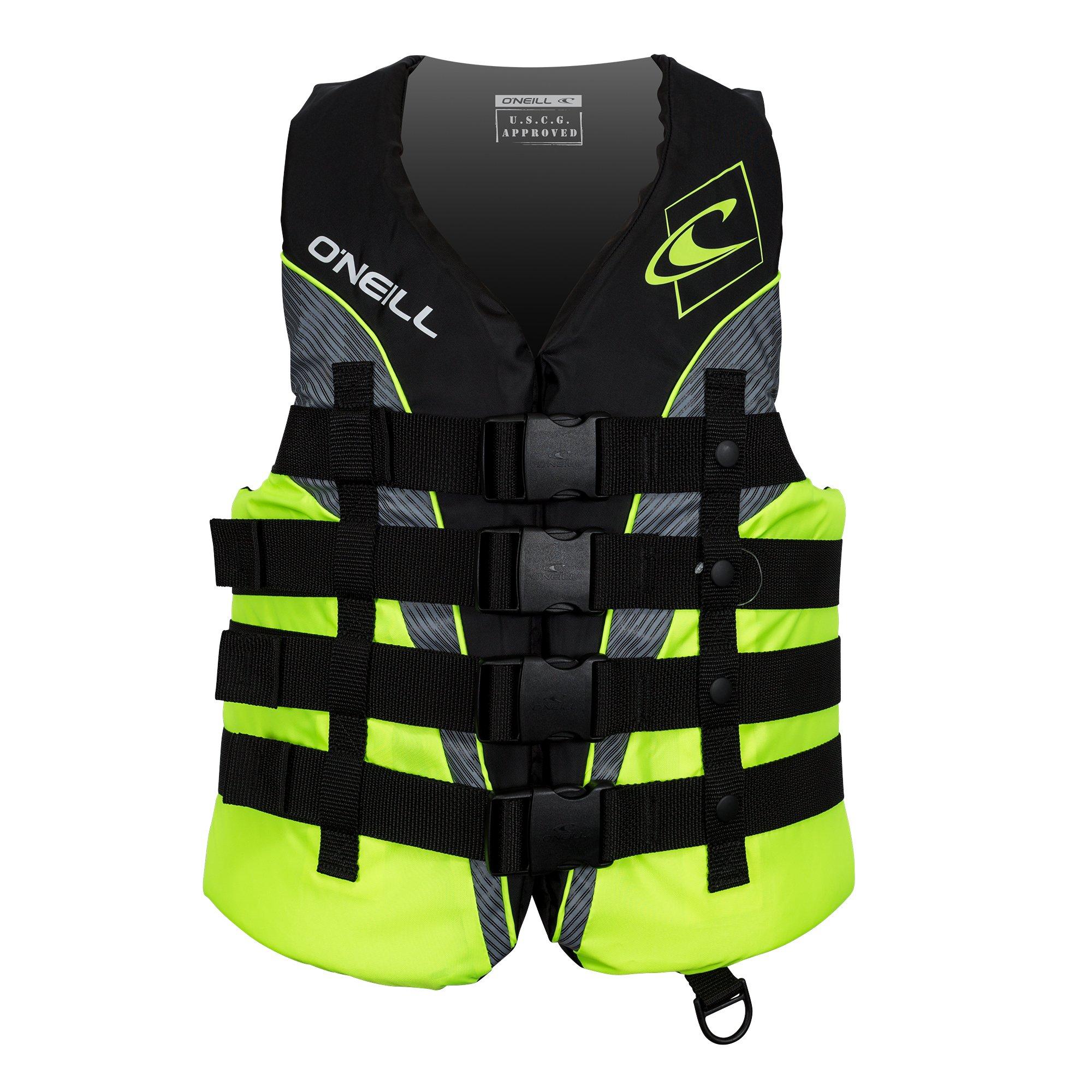 O'Neill  Men's Superlite USCG Life Vest,Black/Lime/Smoke/Lime,Large