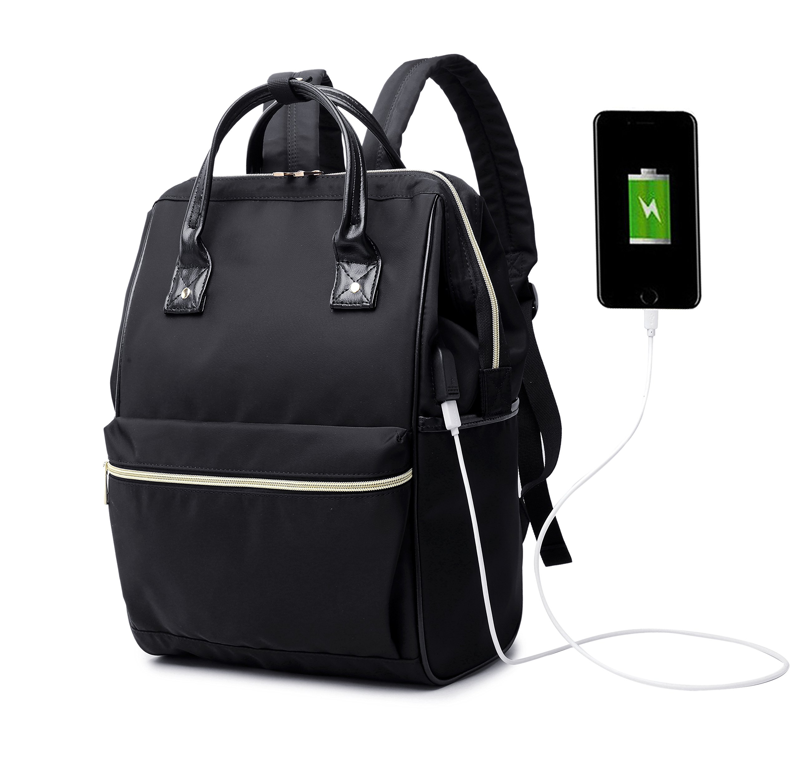 Womens USB Laptop Backpack 15.6 inch Laotop Bag Backpack Purse Daypack for Work College School Travel Black Ship from US