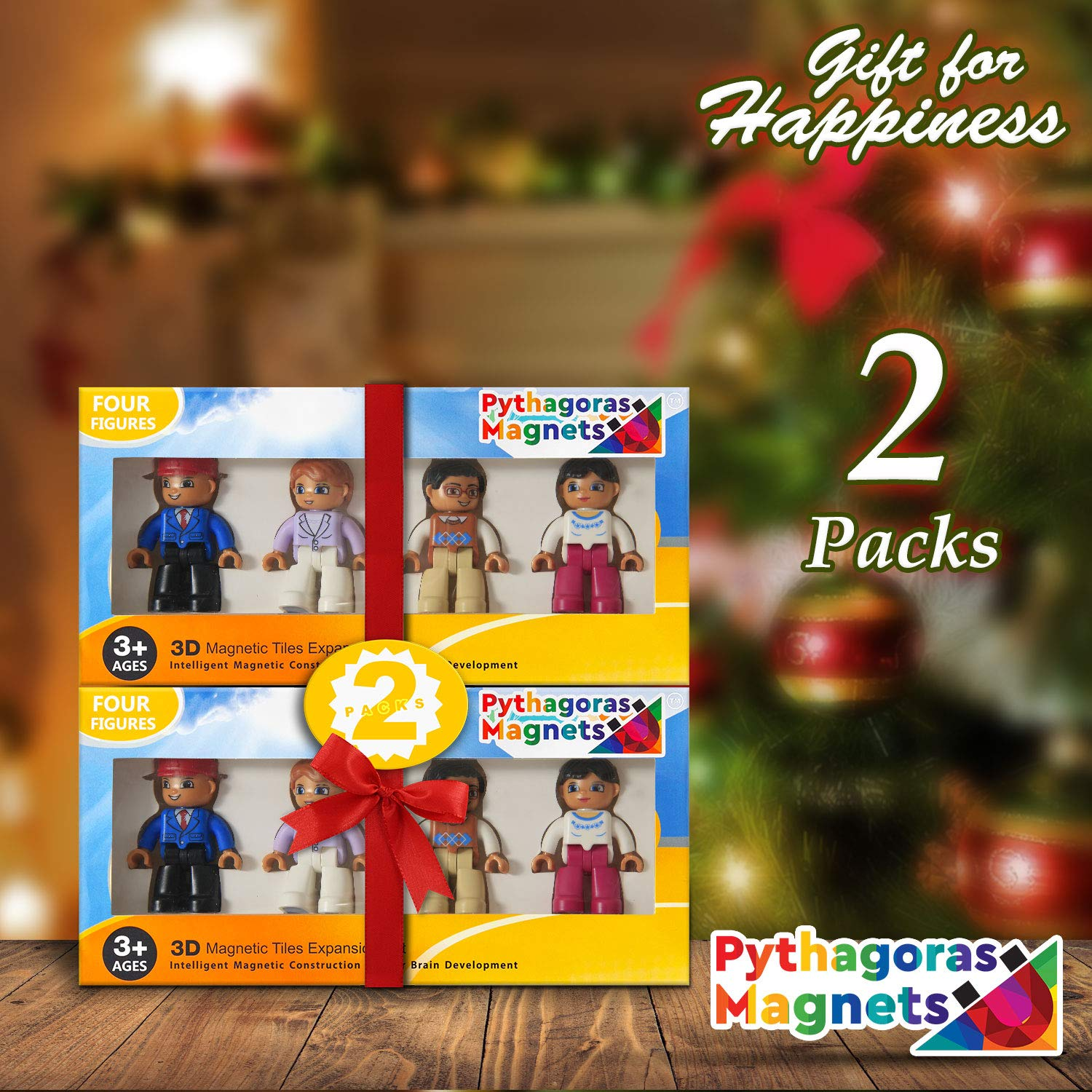 Magnetic Figures Set of 4 - Community Toy People Magnetic Tiles Expansion Pack for Boys and Girls - Pilot, Teacher, Lawyer, Coach Educational STEM Toys Add on Sets for Magnetic Blocks(2 Pack) by Pythagoras Magnets
