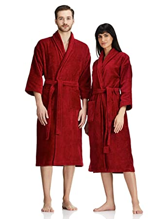 Buy Amazon Brand Solimo 100 Cotton Unisex Bathrobe Brick Red Medium Set Of 1 Online At Low Prices In India Amazon In