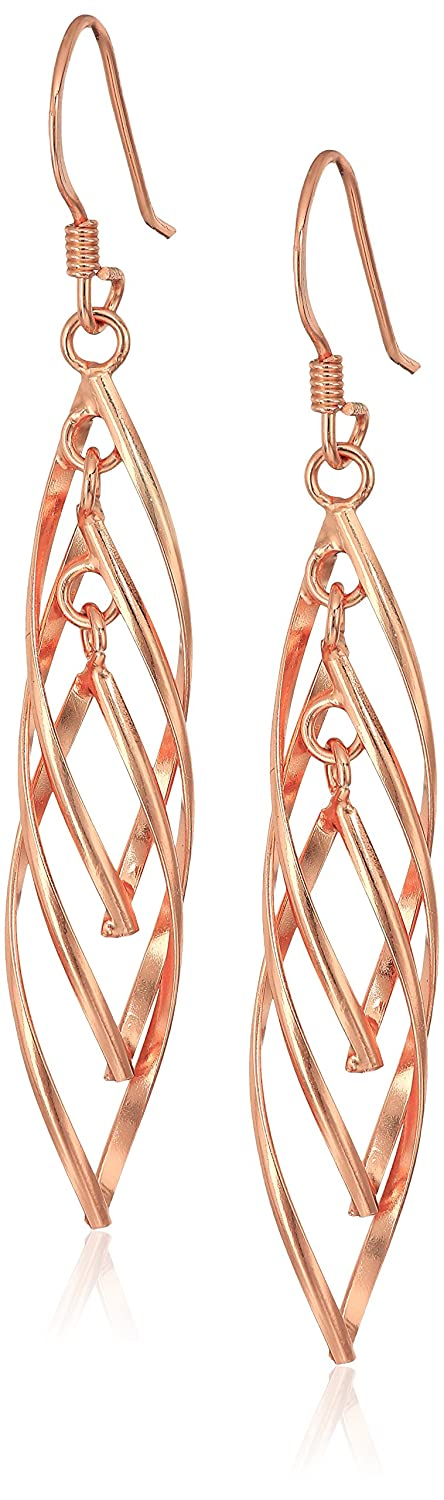 Sterling Silver Linear Swirl French Wire Earrings Amazon Collection E1753