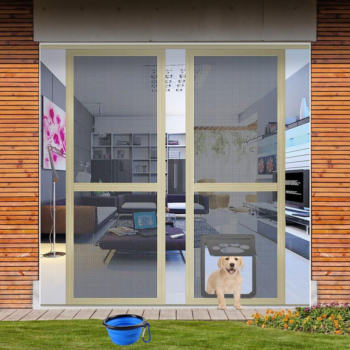 CATOOP Protector de puerta para puerta corredera de perro, gato, cerradura automática/con cerradura, large 12