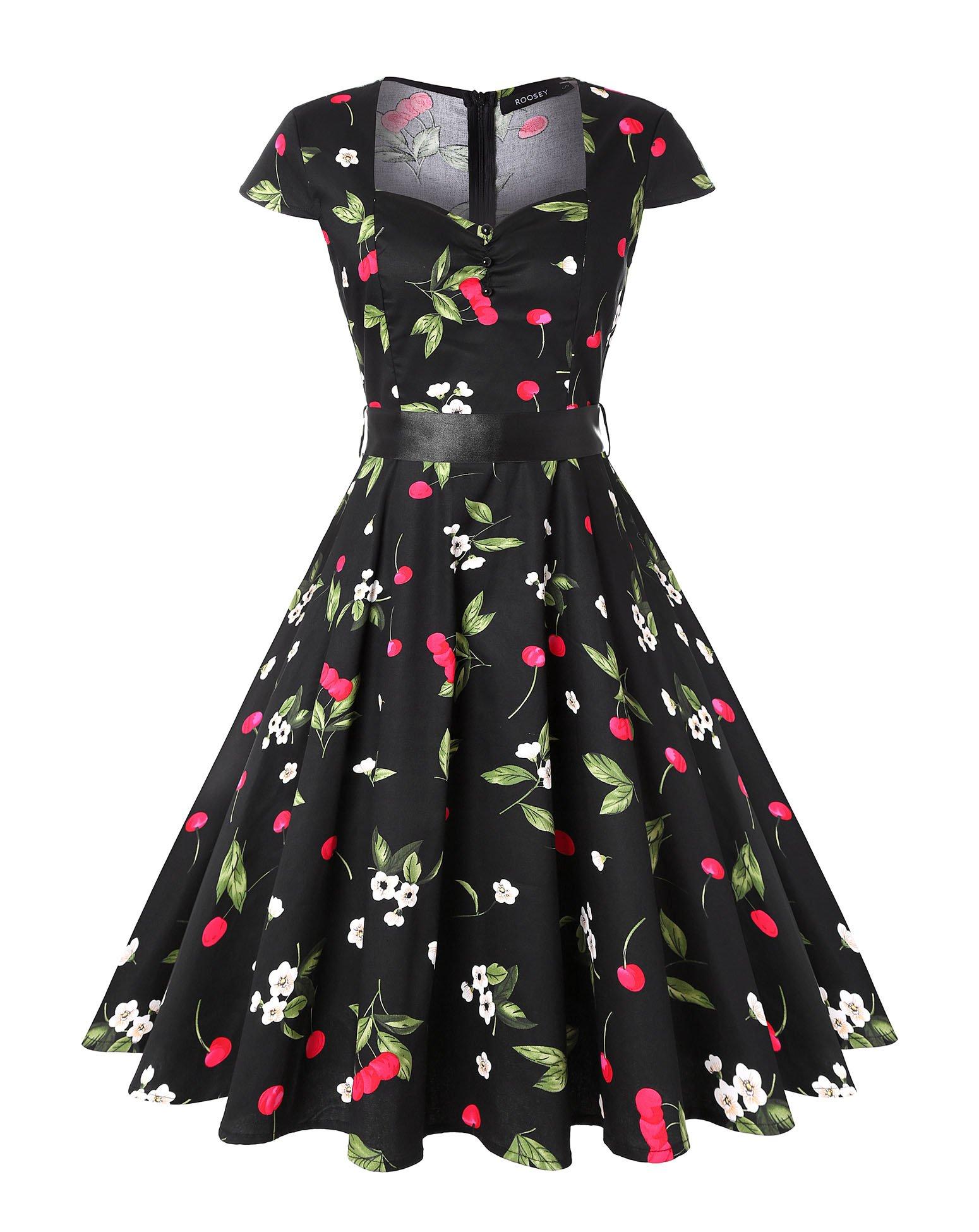 ROOSEY Womens 1950s Retro Rockabilly Swing Knee Length Dress Vintage Cap Sleeves