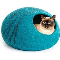 MEOWFIA Premium Felt Cat Bed Cave (Medium) - Handmade 100% Merino Wool Bed for Cats and Kittens (Aqua/Medium)