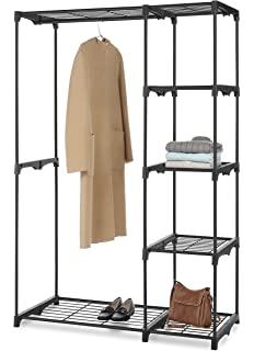 Whitmor Black Double Rod Freestanding Closet Organizer