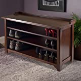 Entryway Shoe Storage Rack, Foyer Bench with 3 Open Shelves Entrance Shoe Closet Solid Wooden