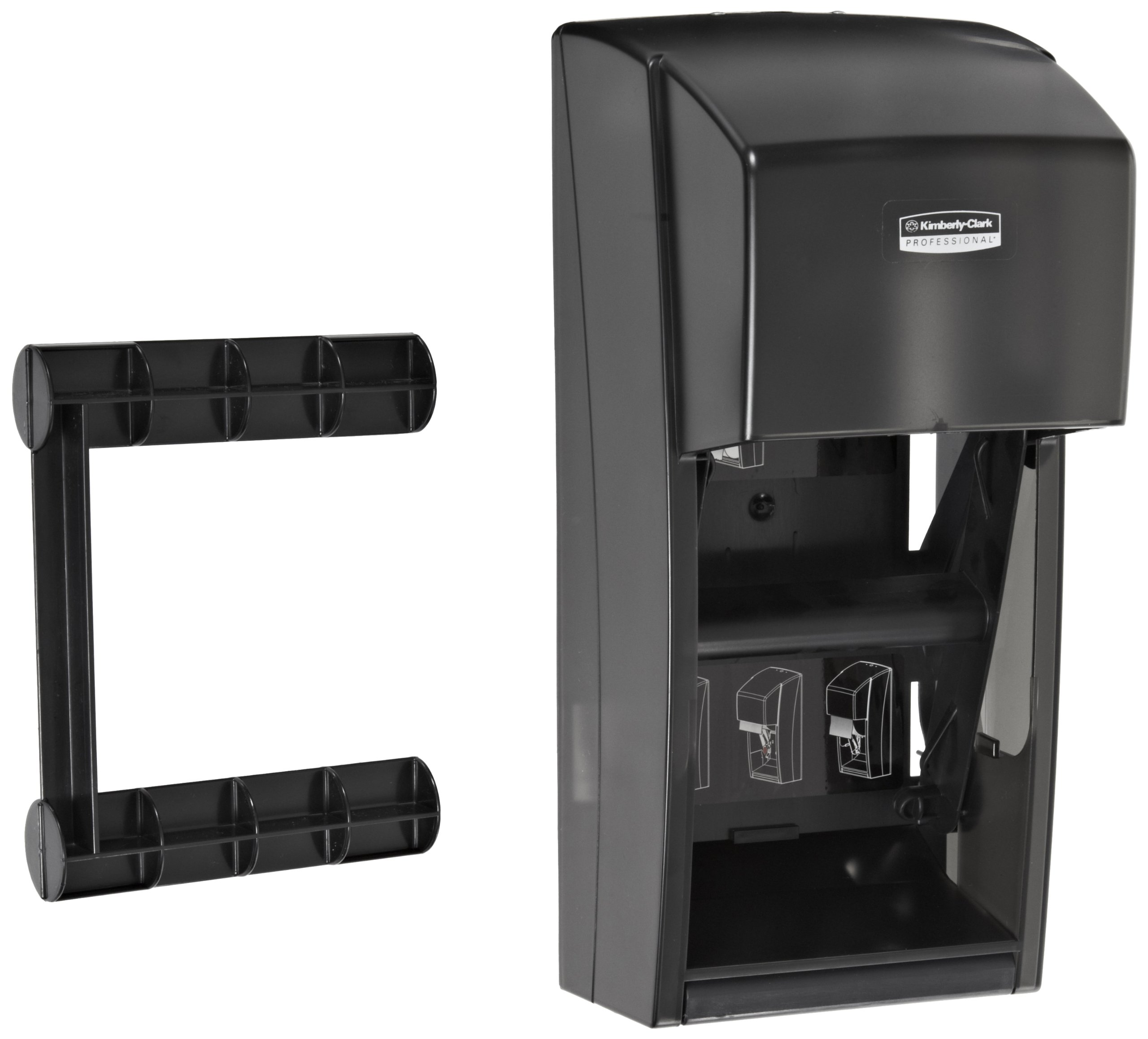 Kimberly Clark Professional Double Roll Toilet Paper Dispenser (09021), Cored or Coreless Standard Roll Compatible, Smoke (Black) by Kimberly-Clark Professional (Image #2)