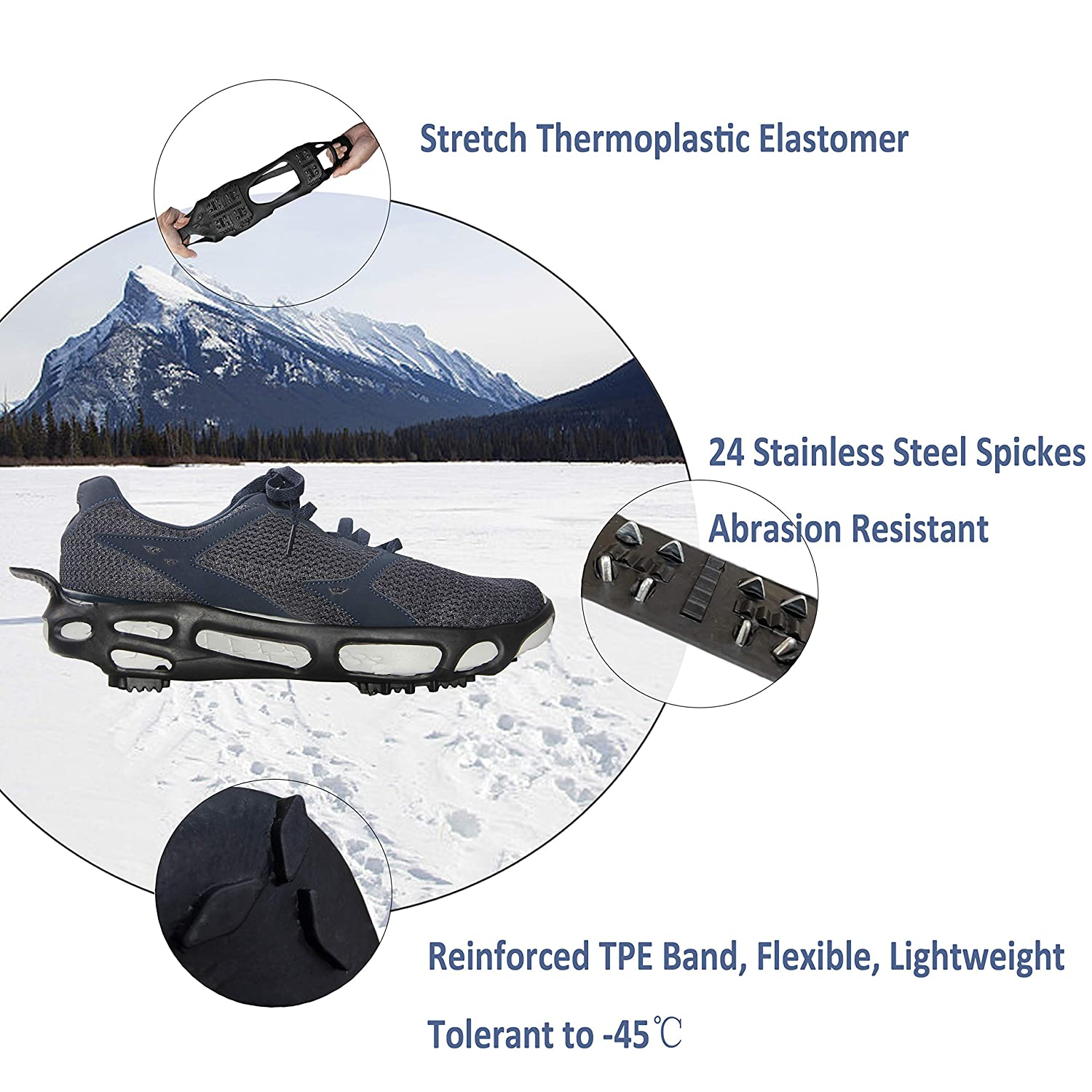 Ice Snow Grips Anti Slip Winter Ice Traction Cleats with Two Secure Straps,10 Stainless Steel Spikes Good anti-slip properties for Walking,Climbing Etc Other Outdoor Activities