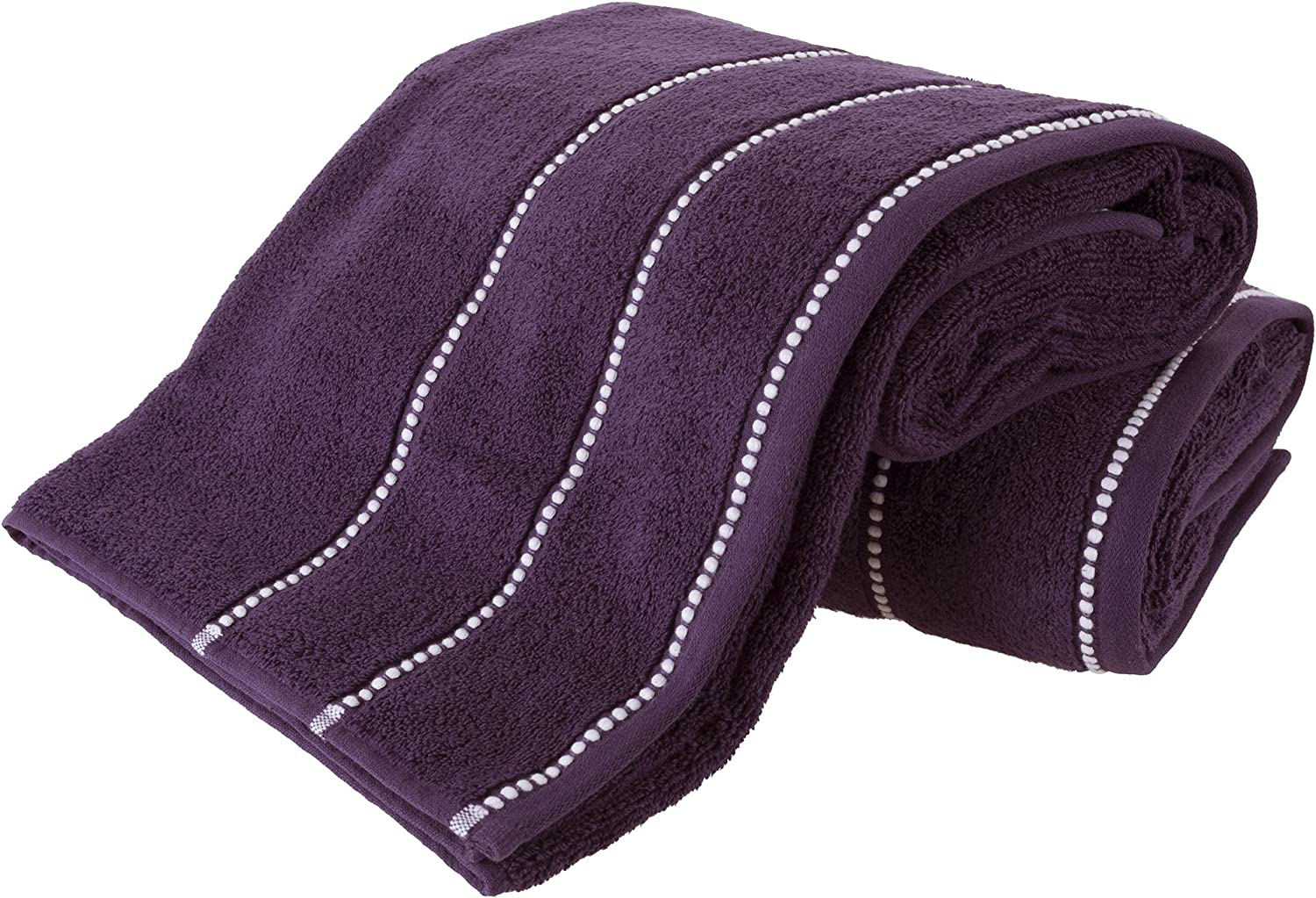 Luxury Cotton Towel Set- 2 Piece Bath Sheet Set Made From 100% Zero Twist Cotton- Quick Dry, Soft and Absorbent By Lavish Home (Eggplant / White)