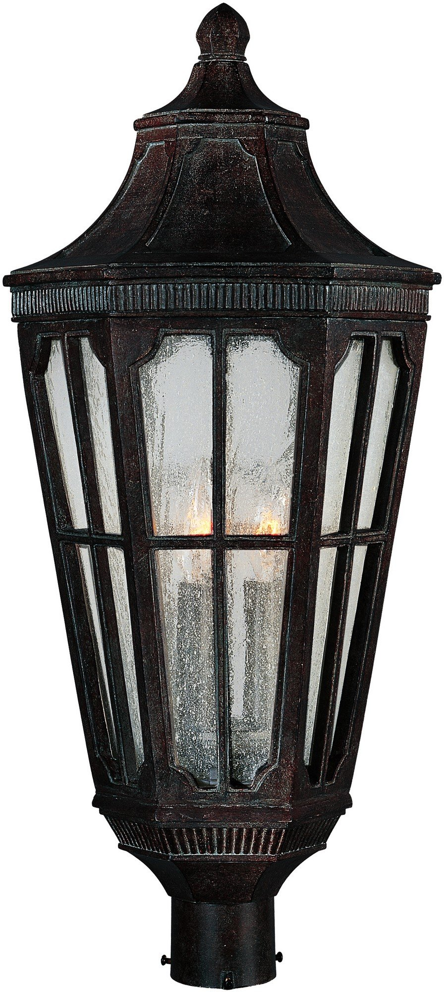Maxim 40150CDSE Beacon Hill VX 3-Light Outdoor Pole/Post Lantern, Sienna Finish, Seedy Glass, CA Incandescent Incandescent Bulb , 60W Max., Damp Safety Rating, Standard Dimmable, Frosted Glass Shade Material, Rated Lumens