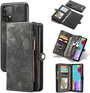 For Samsung Galaxy A52 Case Flip ShockProof Card Holder Leather BodySuit Detachable Case Cover- Black