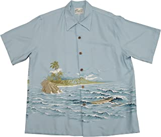 product image for Kaimana Surf Men's Kamehameha Style Rayon Vintage Shirt in Blue - XL