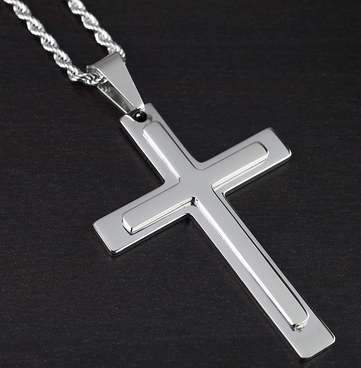 Stainless Steel Pendant Necklase Cross 24 Inches Lobster Clasp