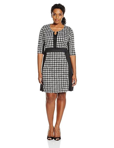 Star Vixen Women\'s Plus Size Elbow Sleeve Ponte Knit Colorblock Fit N Flare  Dress