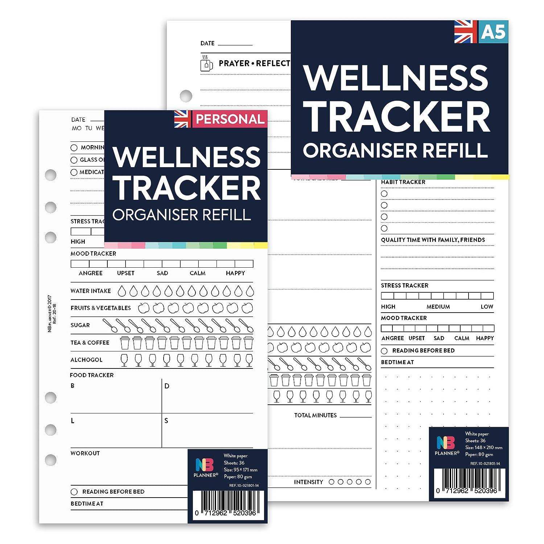 NBplanner® Wellness-Tracker, Organizer, Ersatz-/Nachfülleinlage für Planer, Filofax kompatibel, farbig, in englischer Sprache Personal: 95 x 171 mm Domina Group Ltd