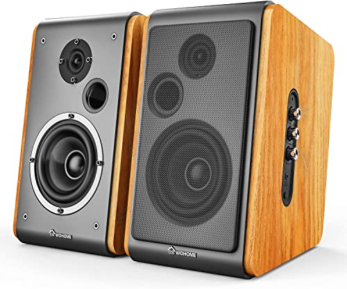 Wohome Bookshelf Speakers 60W Powered Bluetooth Active Home Theater Speaker Pair, Wooden Enclosure, Wood Color, 4 Inch Driver, Model BT-106