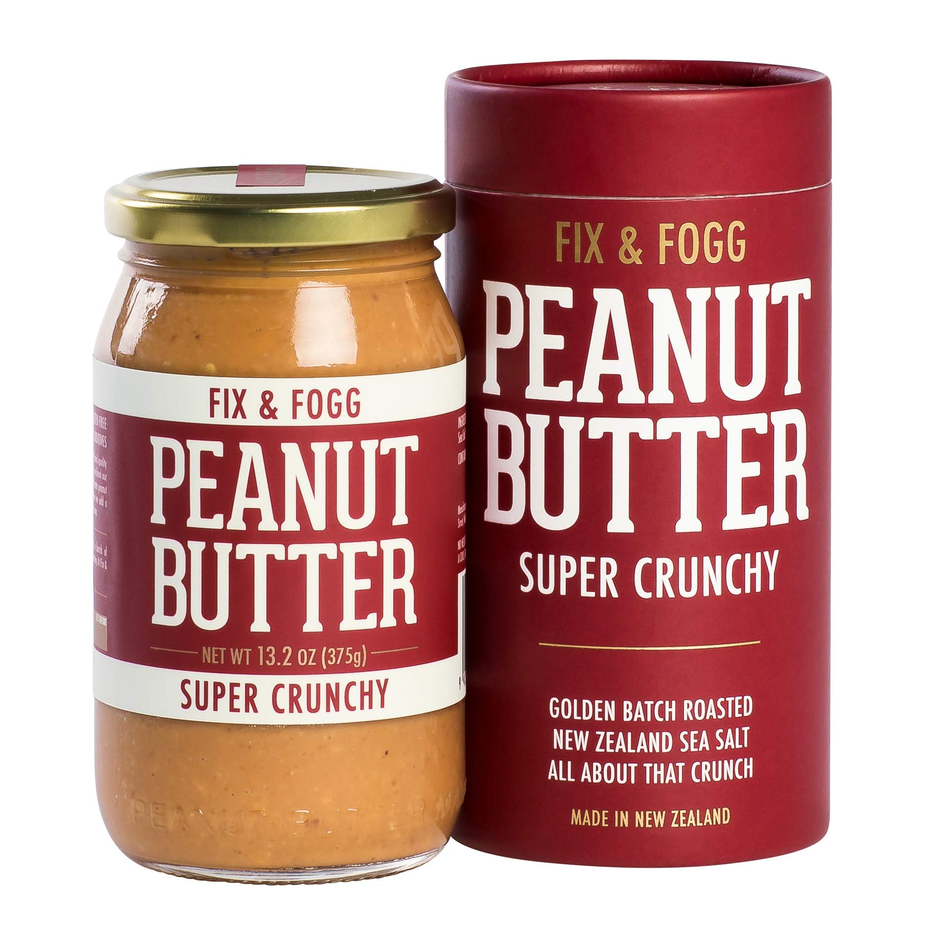 Fix & Fogg Super Crunchy Peanut Butter (13.2 oz) All Natural, Handmade, Vegan, Extra Chunky, Golden Roasted With Glass Jar and Beautifully Designed Cardboard Gift Canister.