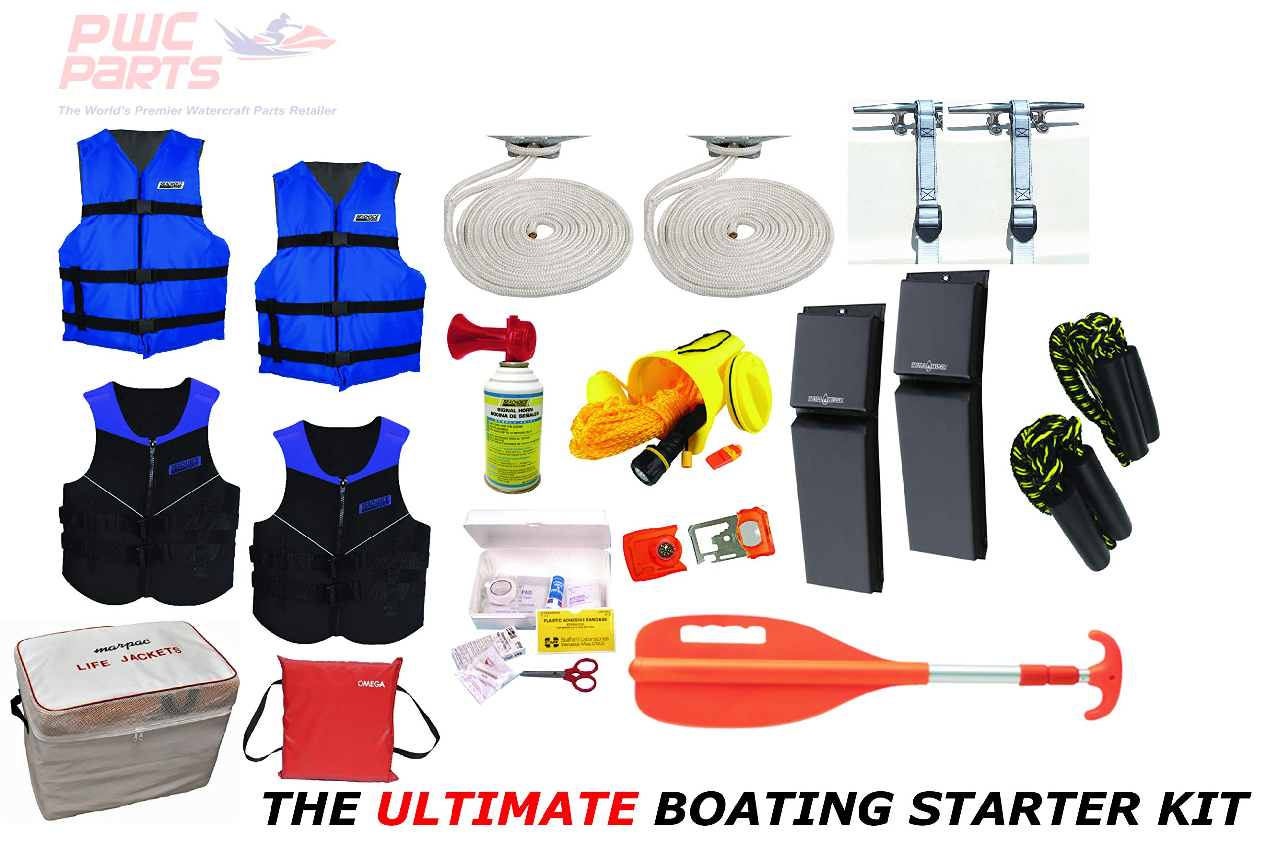 PWC Parts Ultimate Boating Starter Kit for All Boats w/Neoprene Life Jackets, Nyon Vests, Throw Cushion, 4X Dock Lines, Horn, Whistle, Contour Fenders, Gear Bag, First Aid Kit, Paddle (Infant) by PWC Parts Co