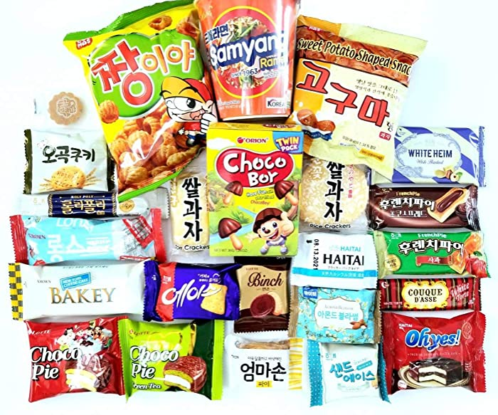 ULTIMATE Korean Snack Box 24 Count Individual Wrapped Essentials Sample Packs of Snacks, Chips, Cookies, Treats for Kids, Children, College Students, Adult and Senior treat 24 packs