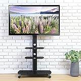 FITUEYES テレビスタンド 32~65インチ対応 キャスター付き 3段 高さ角度調節可能 移動式 ブラック TT306503GB