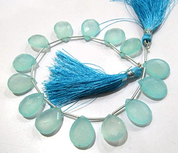 mystic custom orders A++ quality 20 pieces faceted CHALCEDONY leaf like briolette beads 14 x 17 mm approx...wholesale price kite fancy