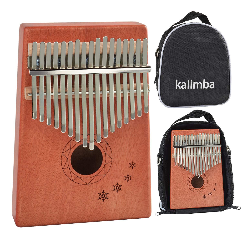 Kalimba 17 keys Thumb Piano Mahogany Wood Portable Mbira African Likembe Sanza with Tunning Hammer Storage Bag and Study Instruction in English
