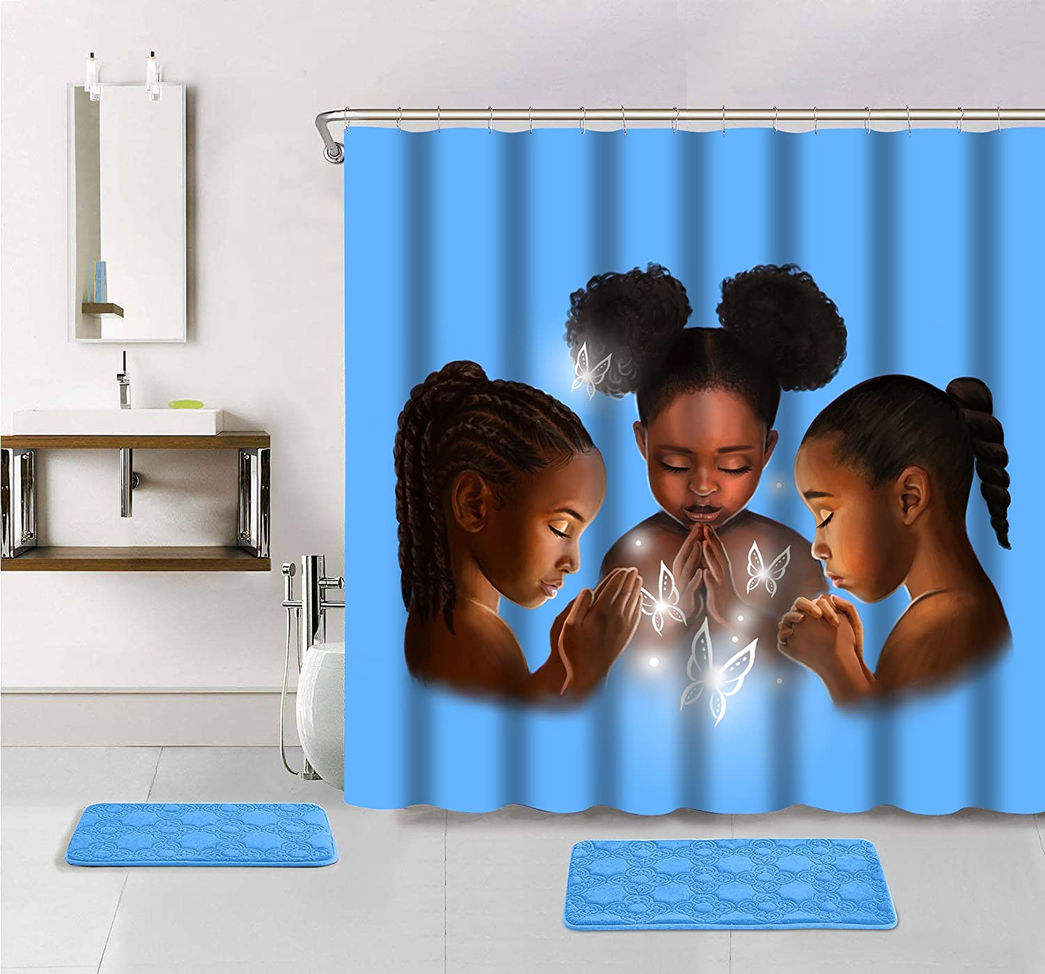 Amazon.com: Praying Girls Shower Curtain: Home & Kitchen