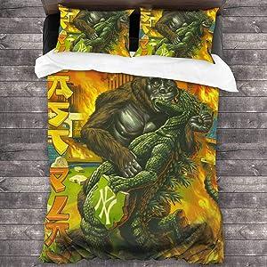 Duckmole Godzilla Vs King Kong Comforter Set Bedding Set 3 Piece Twin Size Duvet Cover Set with 1 Quilt Cover 2 Pillow Shams 86