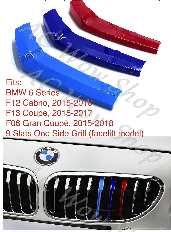 B M W 6 Serie F12 F13 F06 2015-2018 9 bar cofano radiatore griglia strisce inserti clip M Power Sport Performance Tech Paket colore griglie distintivo