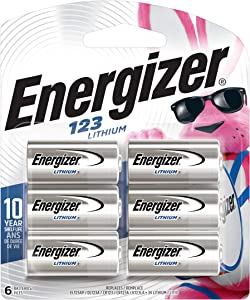 Energizer 123 Lithium Batteries, 3V CR123A Lithium Photo Batteries (6 Battery Count) - Packaging May Vary