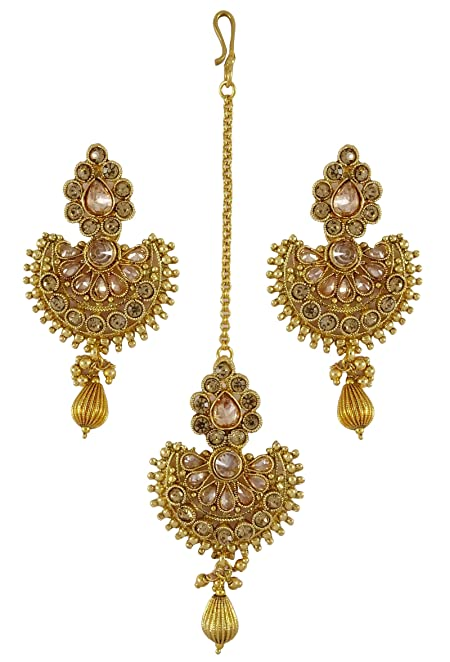 Bollywood Traditional Goldtone Necklace Maang Tikka Earring Set Jewellery For Her VZoLol