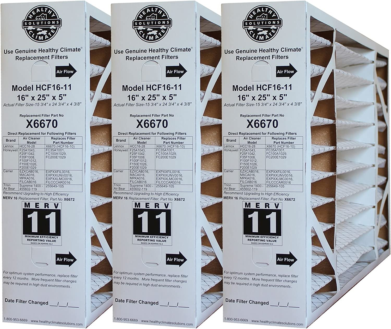 """Lennox X6670 MERV 11 Box Replacement Filter also for Honeywell, 16"""" H x 25"""" L x 5"""" W (3-Pack)"""