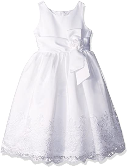 f611b0a7df5 Jayne Copeland Girls Embroiderd Mesh with Satin Special Occasion Dress -  White -  Amazon.co.uk  Clothing
