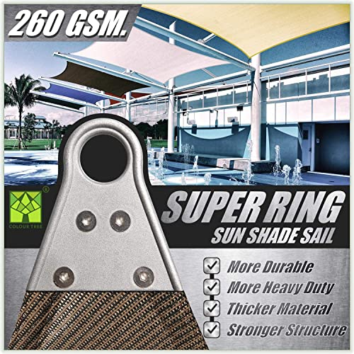 ColourTree Super Ring Customized Size Order to Make Custom Size 37 x 39 Brown Sun Shade Sail Canopy Awning Shades for Patio – Commercial Standard Heavy Duty – 260 GSM – 5 Years Warranty