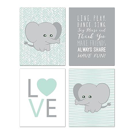 Amazon.com: Elefante Nursery Decor, Wall Decor para niños ...