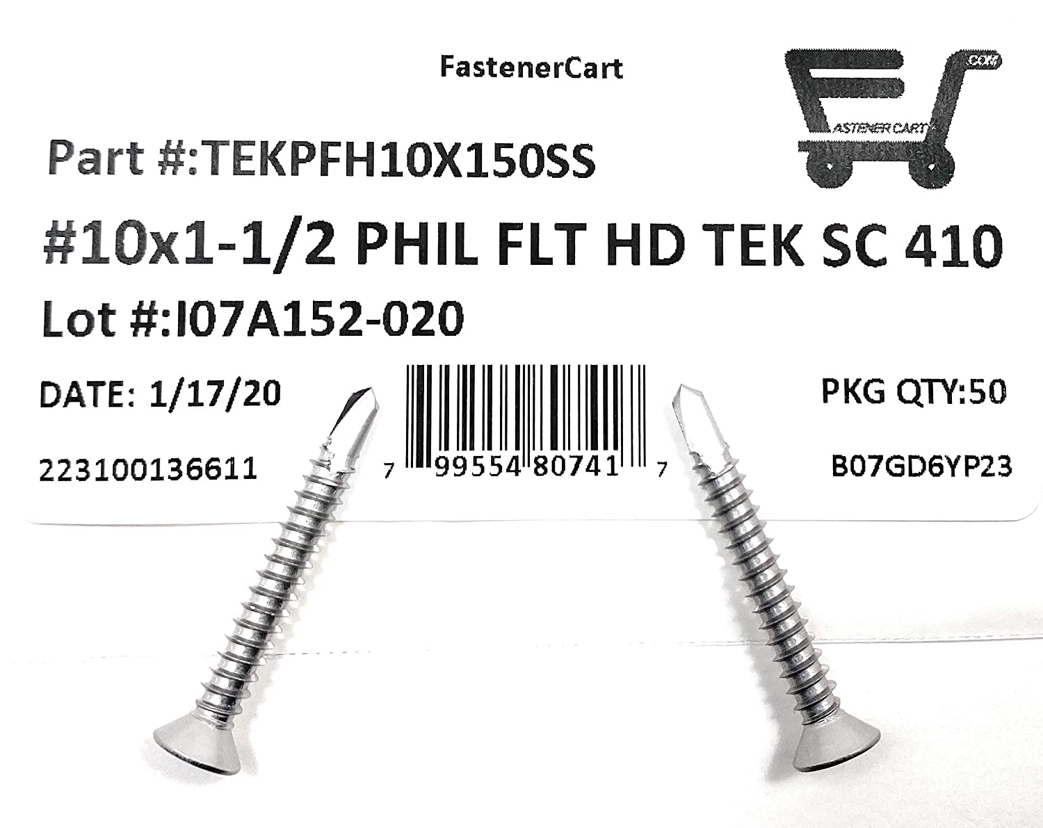 410 Stainless Steel #10x1 1//2 Stainless Steel Phillips Flat Head Self Drilling Tapping TEK Screw 50 Pieces 10X1 1//2