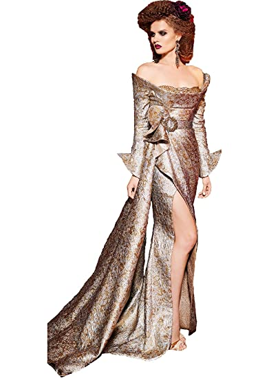 06541b3412e Fouad Sarkis for MNM Couture Women s Long Sleeve Off The Shoulder Evening  Gown 14 Silver Gold at Amazon Women s Clothing store