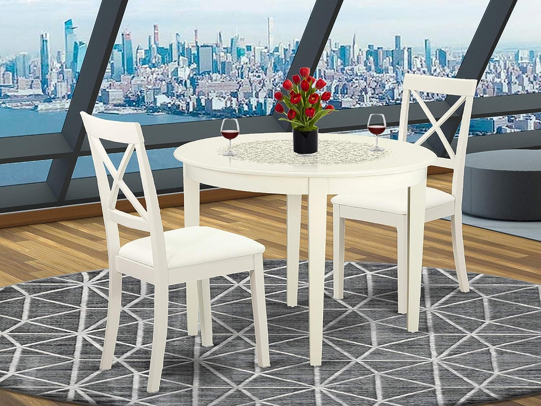 East West Furniture Boston set, Linen White