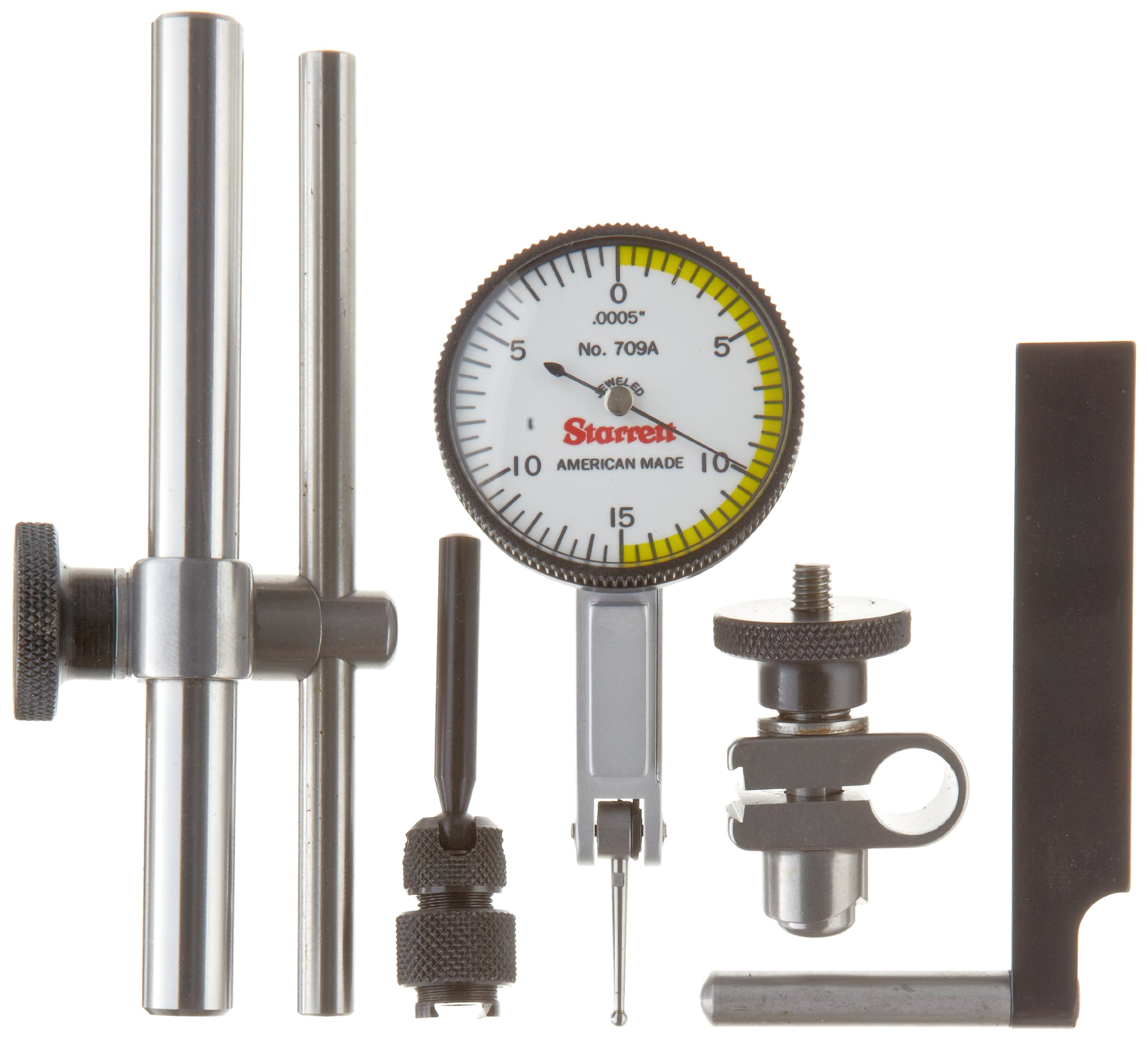 Starrett 709ACZ Dial Test Indicator with Attachments, Dovetail Mount, White Dial, 0-15-0 Reading, 1.375'' Dial Dia., 0-0.03'' Range, 0.0005'' Graduation, +/-0.0005'' Accuracy