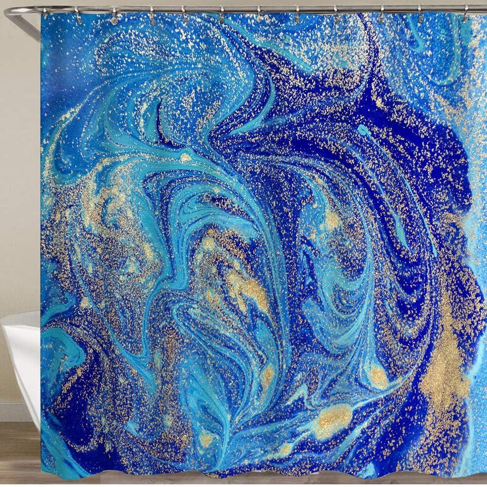 YOUMEISU La Cortina de Ducha más Nueva con Ganchos,Fondo Abstracto Azul Jaspeado con Lentejuelas Doradas,Resistente al Agua Lavable Tela de poliéster con 12 Ganchos 180x180cm
