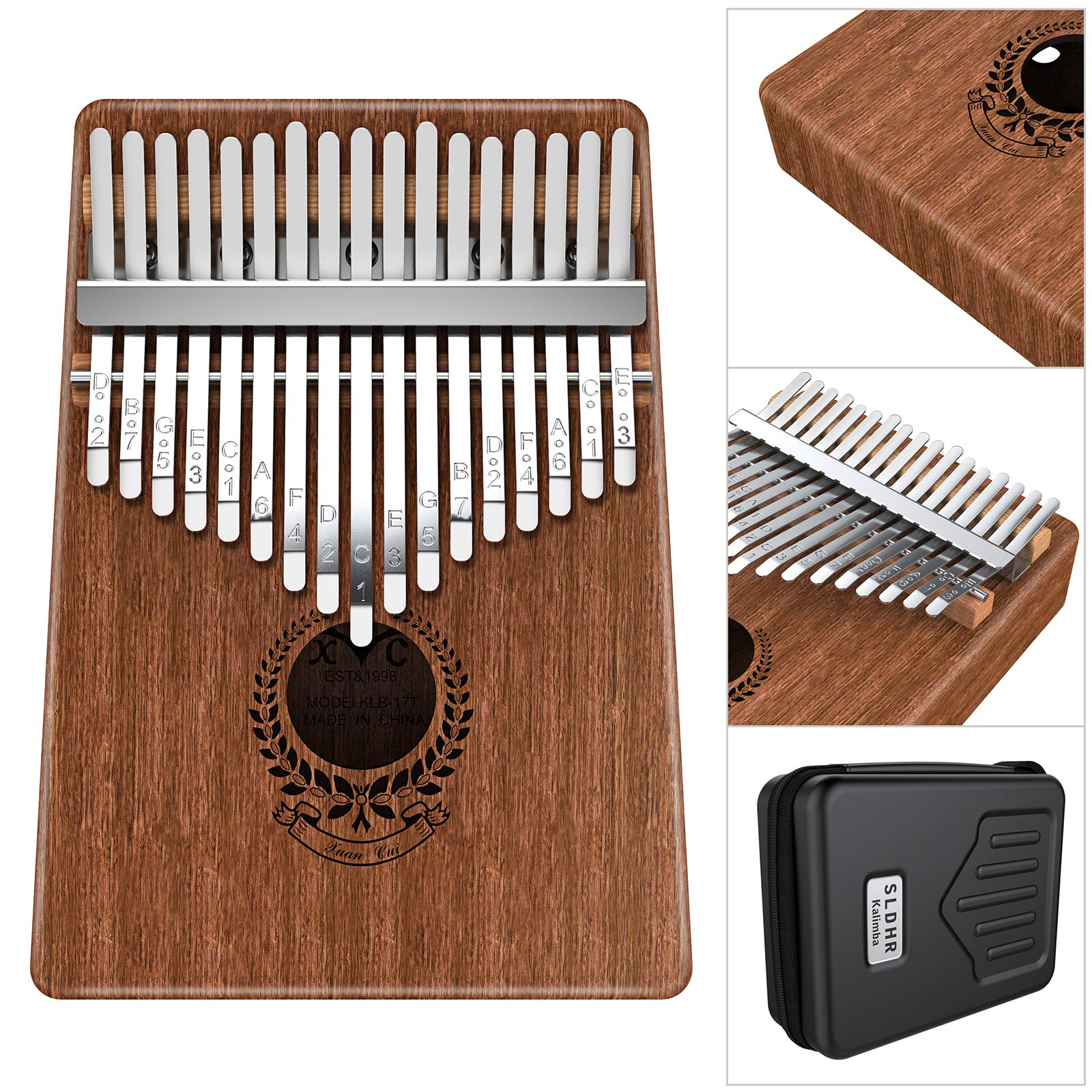 SLDHR Kalimba 17 Keys Thumb Piano Built-in Professional Kalimba Bag,Study Instruction and Tune Hammer, Unique Gift for Kids Adult Beginners, Professionals.