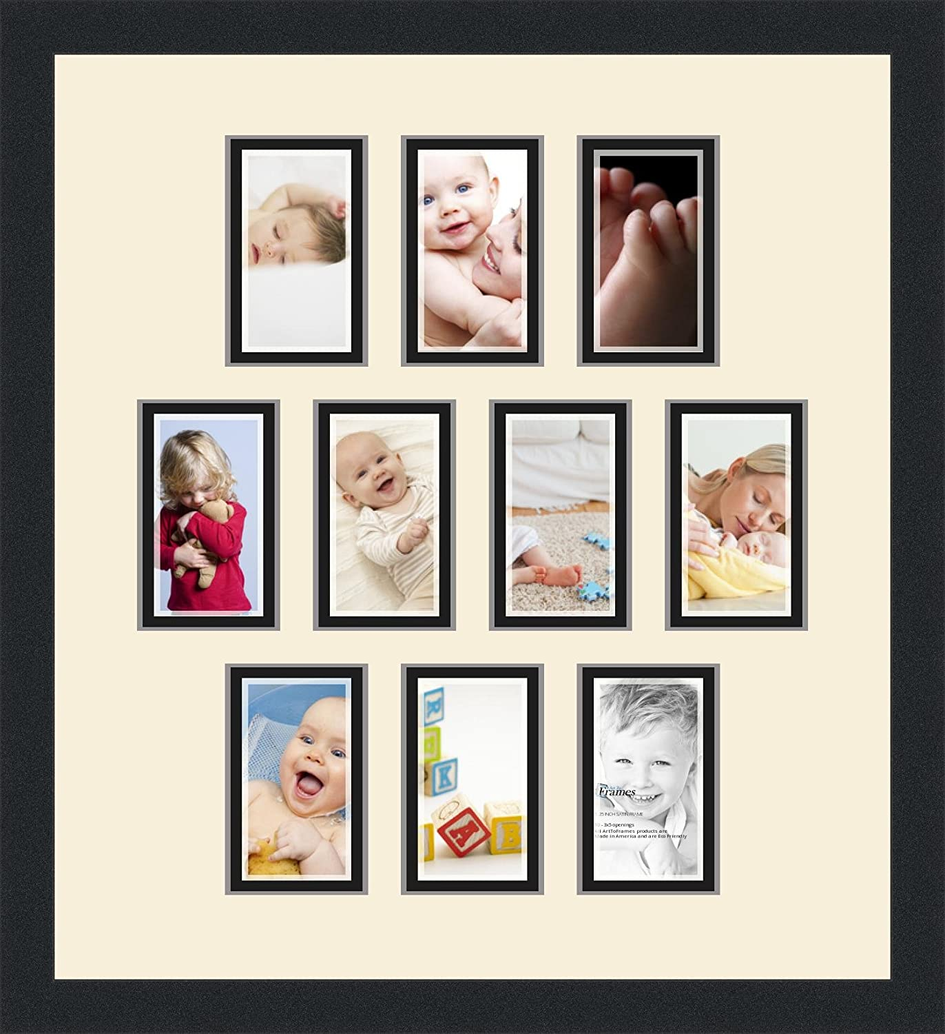 Art to Frames Double-Multimat-1020-128//89-FRBW26079 Collage Photo Frame Double Mat with 10-3x5 Openings and Satin Black Frame
